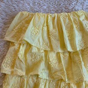 Tularosa Dresses - Tularosa Finley Yellow Eyelet Ruffle Mini Dress
